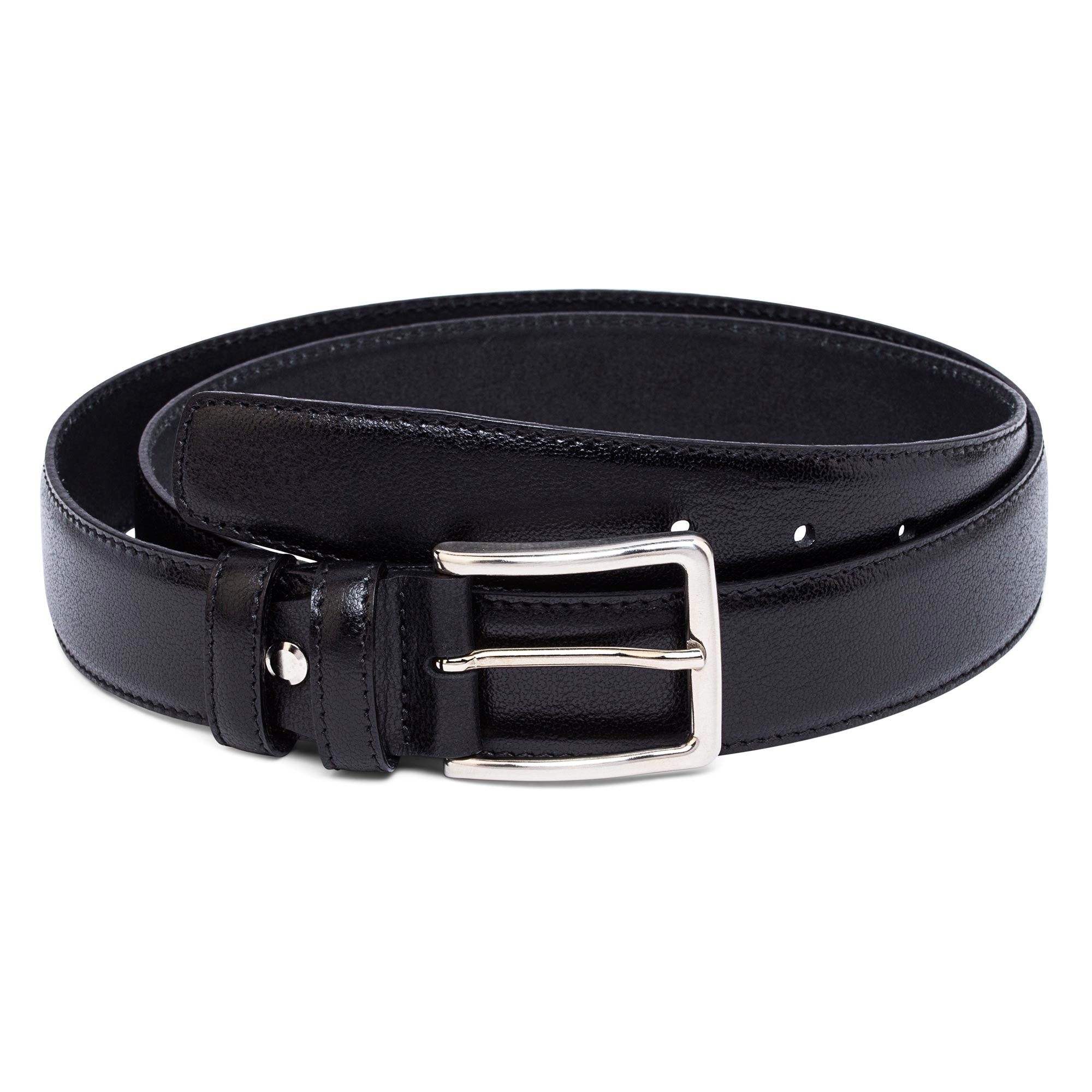 Smooth Mens Black Leather Belt 100/% Genuine Italian Nappa Made in Italy