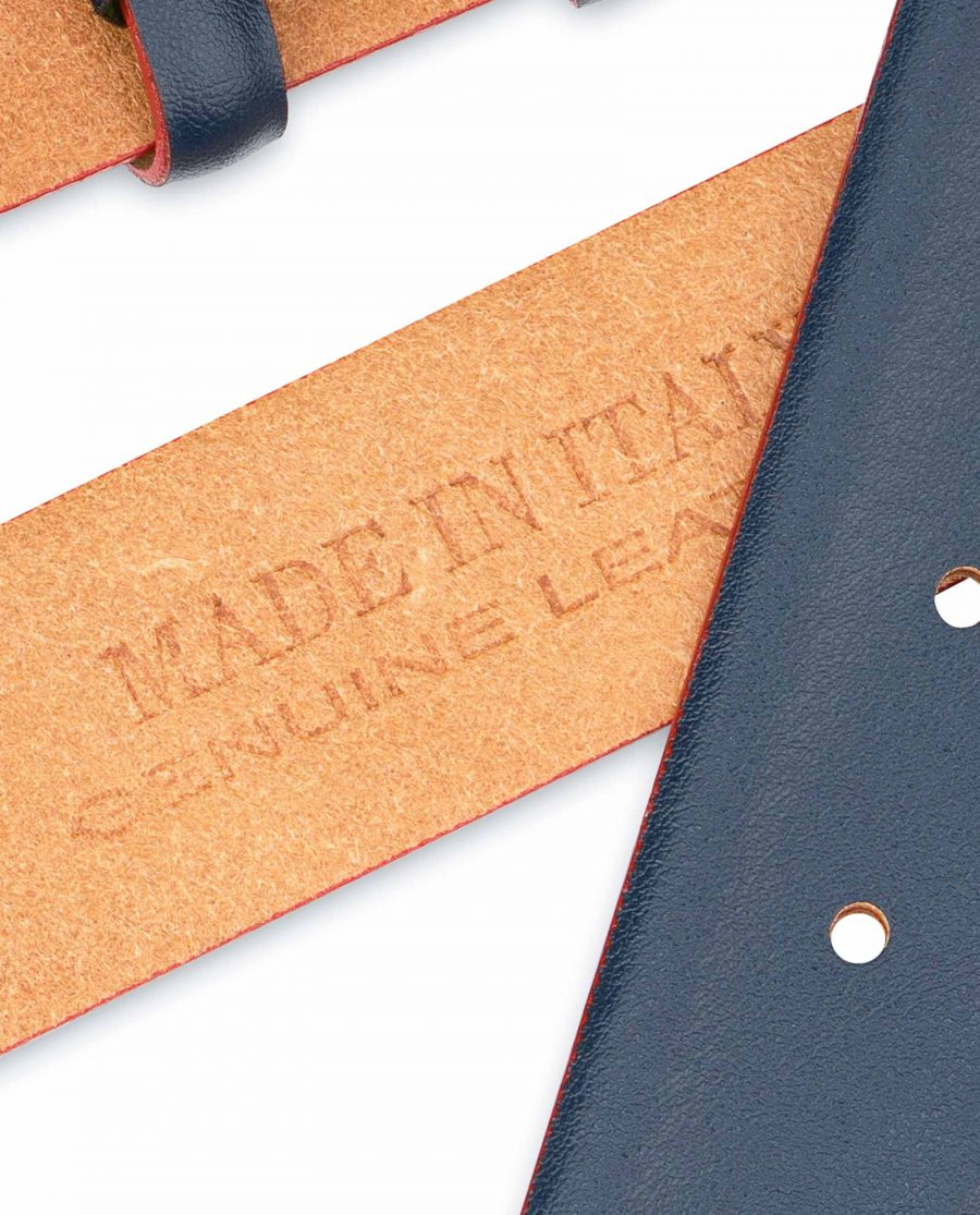 1-3-8-inch-Blue-Leather-Belt-Strap-with-Red-Edges-Genuine
