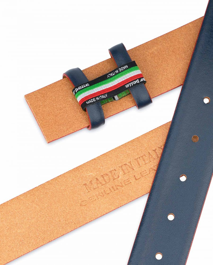 1-3-8-inch-Blue-Leather-Belt-Strap-with-Red-Edges-Heat-stamp