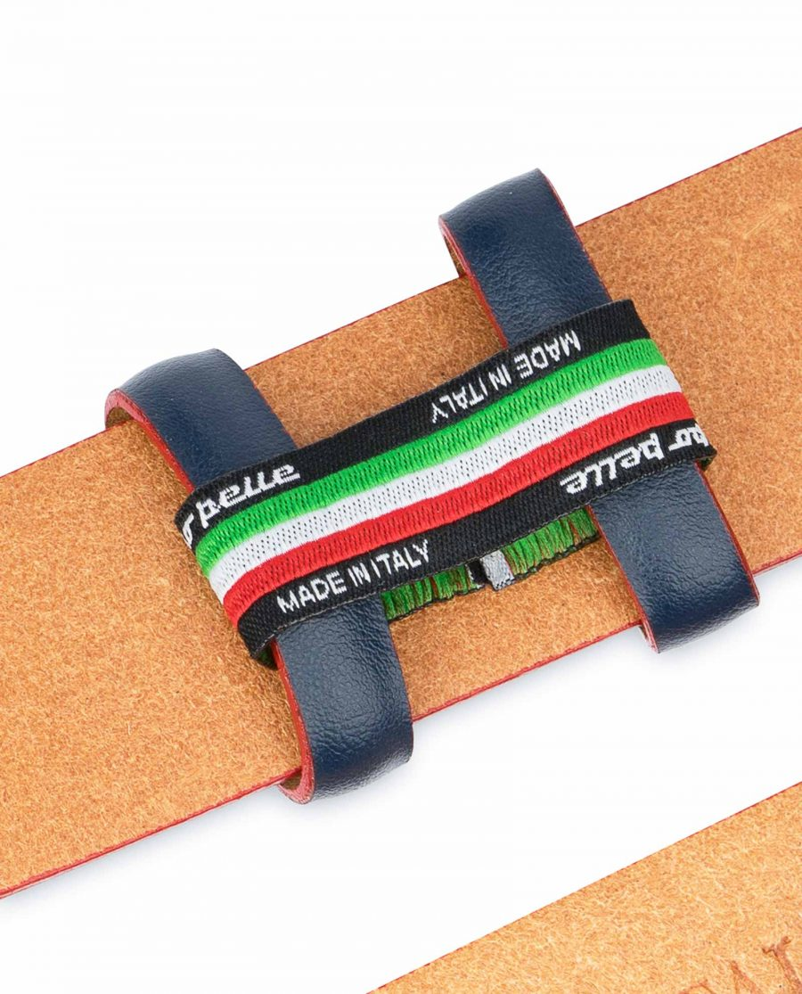 1-3-8-inch-Blue-Leather-Belt-Strap-with-Red-Edges-Woven-lable