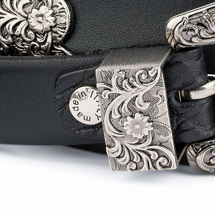1-Inch-Black-Western-Belt-Womens-Antique-Silver-Buckle-Made-in-Italy-screw