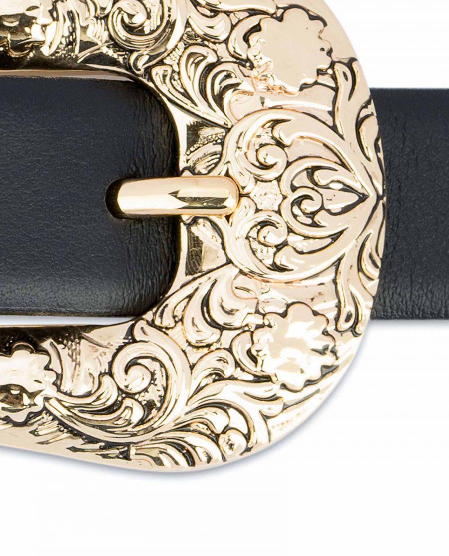 1-Inch-Black-Western-Belt-Womens-Floral-Engraved-Gold-Buckle