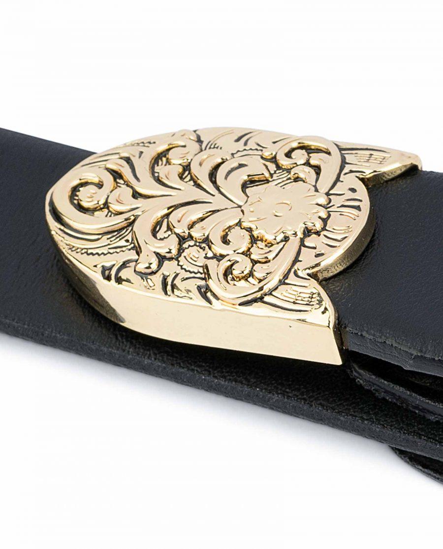 1-Inch-Black-Western-Belt-Womens-Floral-Gold-Buckle-3-piece-set