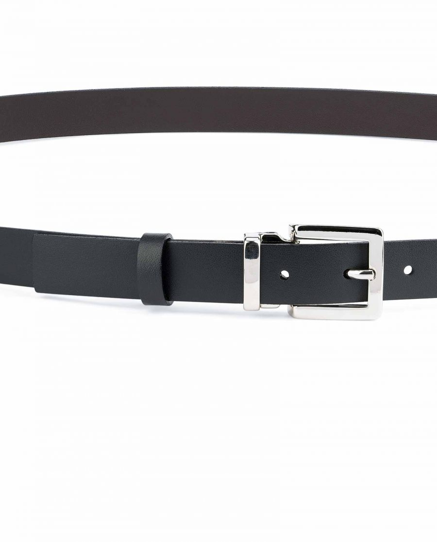 1-Thin-Leather-Belt-Black-Brown-Smooth-Silver-nickel-buckle