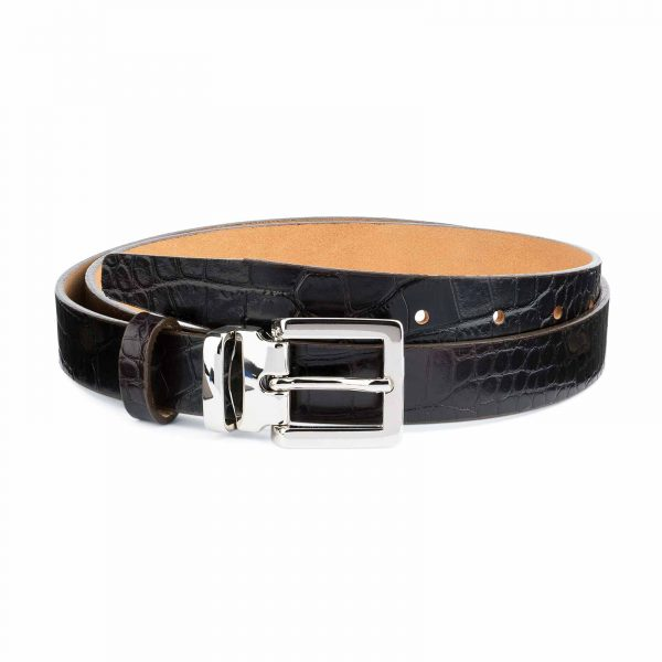 1-inch-Croco-Belt-Dark-Brown-Embossed-Leather-Capo-Pelle