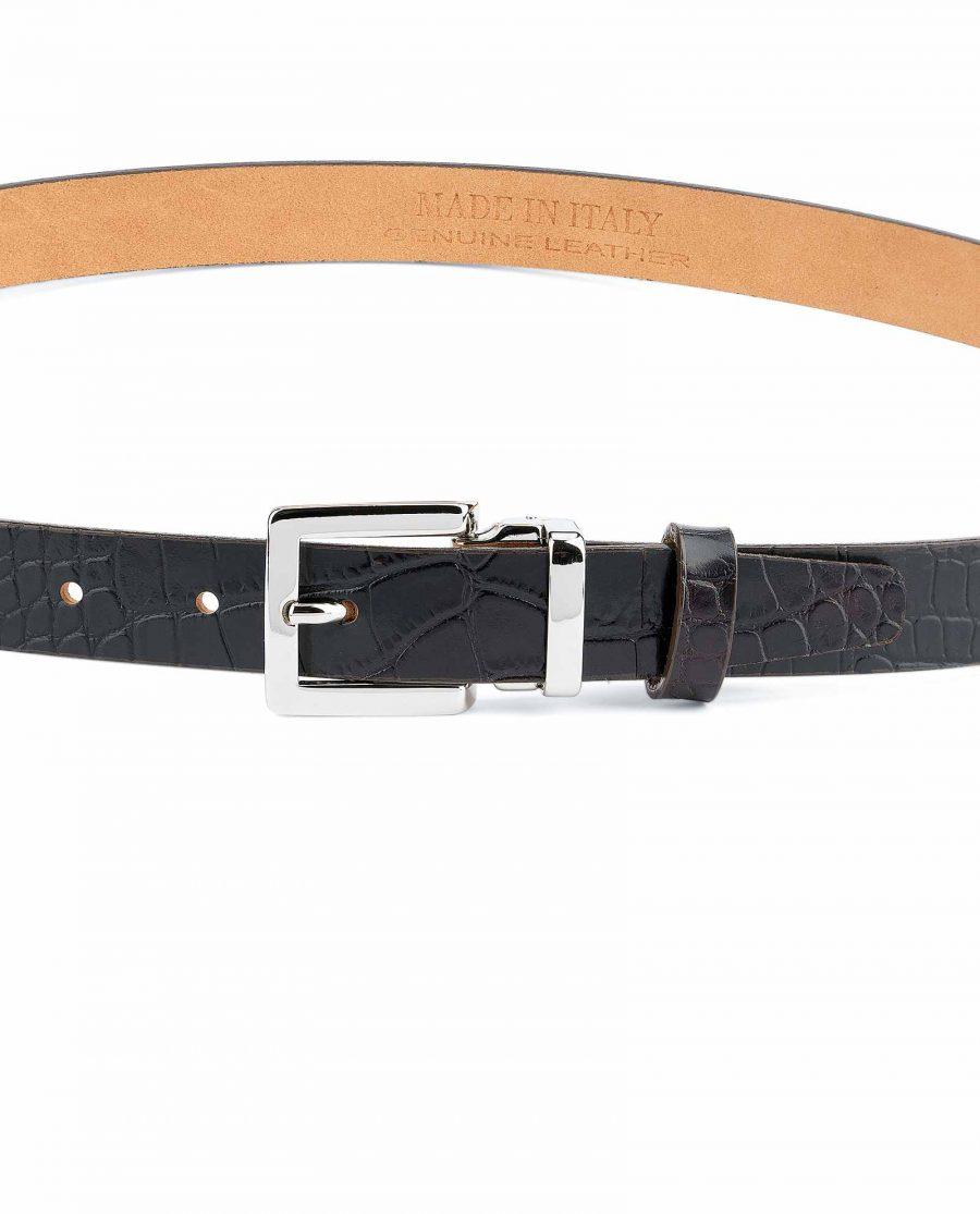 1-inch-Croco-Belt-Dark-Brown-Embossed-Leather-On-dress