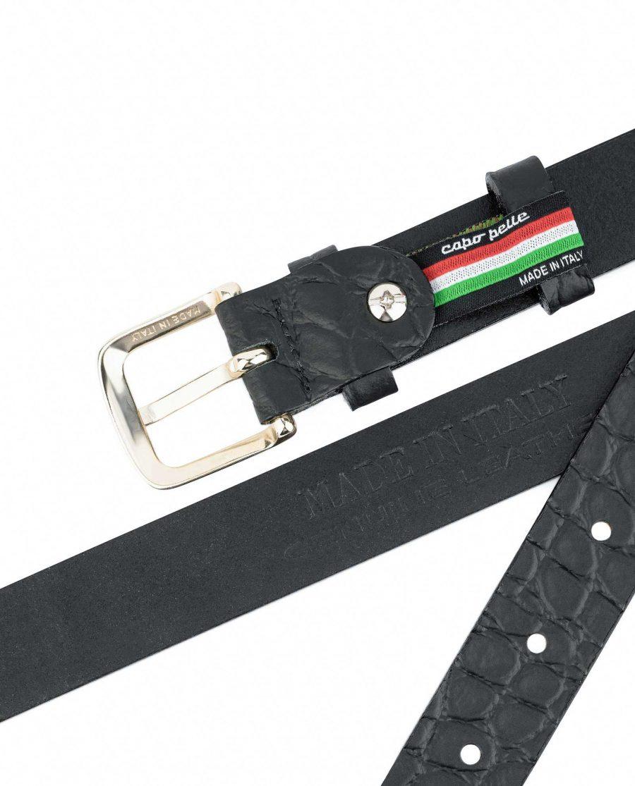 1-inch-Croco-Mens-Skinny-Belt-25-mm-Capo-Pelle-Heat-stamp