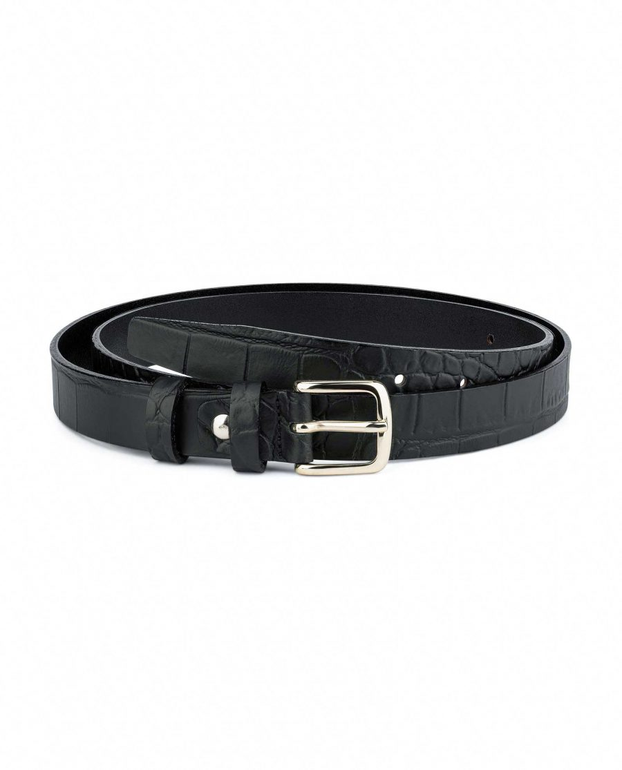 1-inch-Croco-Mens-Skinny-Belt-25-mm-Capo-Pelle-Main-picture