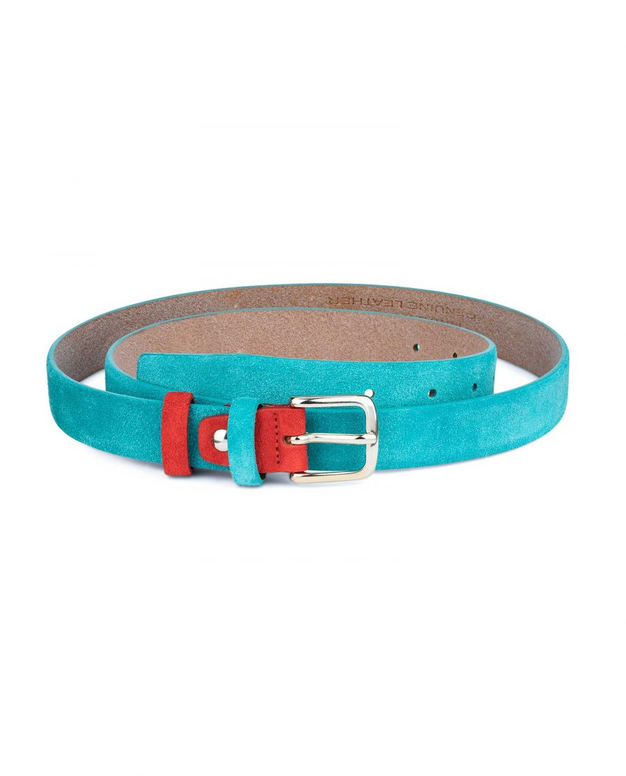1-inch-Suede-Turquoise-Leather-Belt-with-Red-First-picture