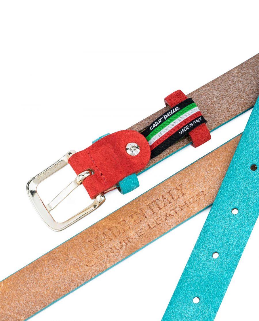 1-inch-Suede-Turquoise-Leather-Belt-with-Red-Heat-stamp