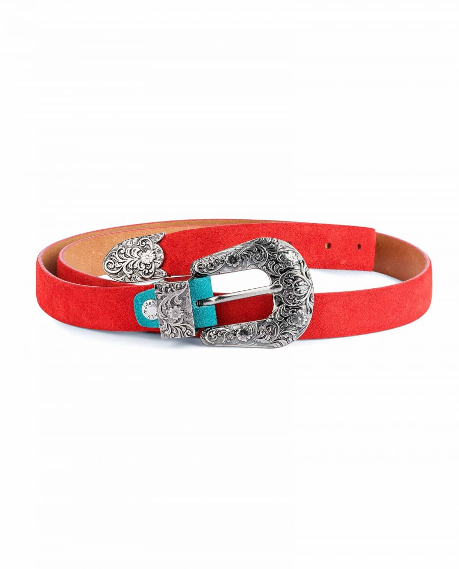 1-inch-Western-Belt-Womens-Red-Suede-Leather-Capo-Pelle