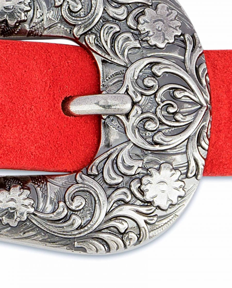 1-inch-Western-Belt-Womens-Red-Suede-Leather-Floral-engrave