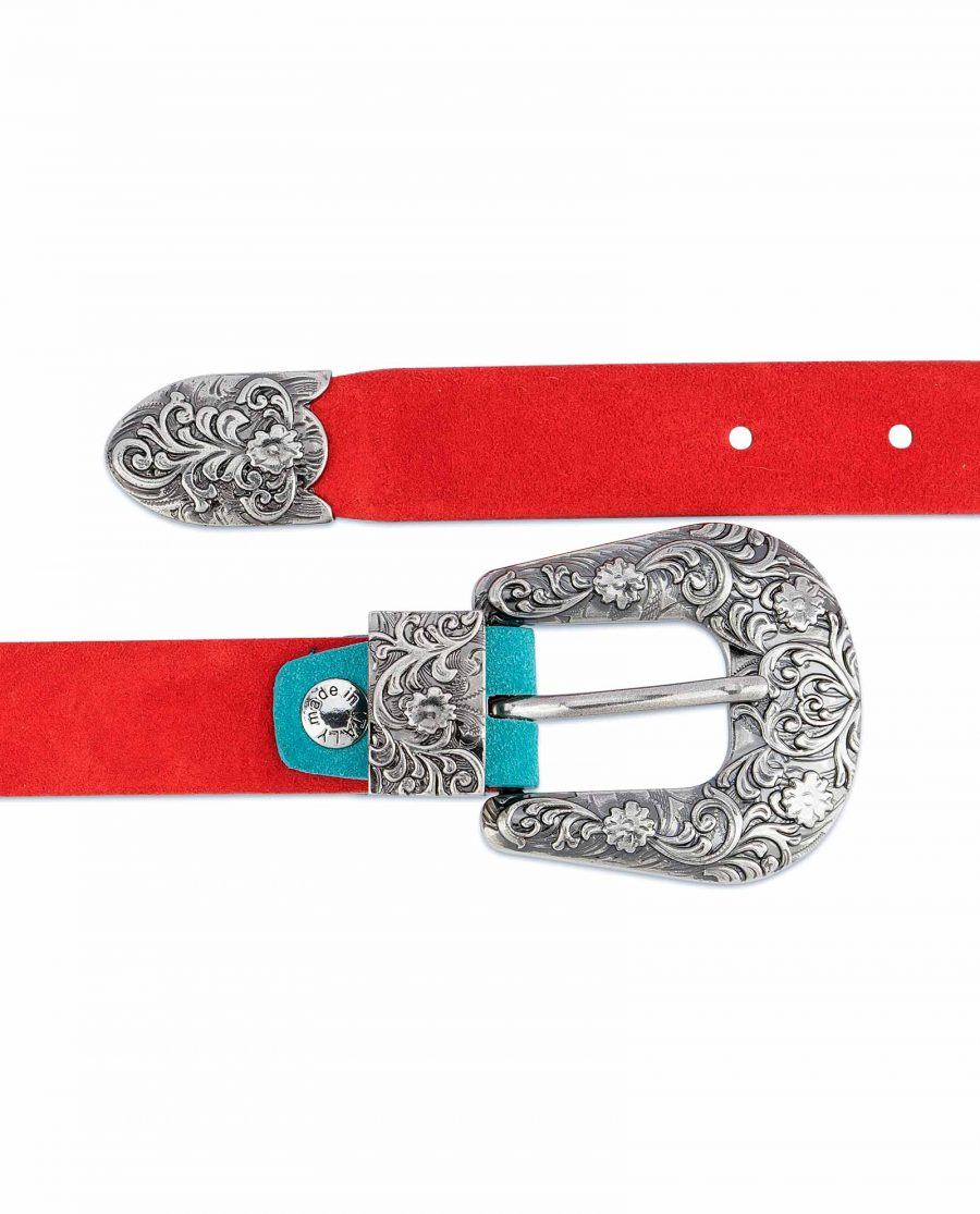 1-inch-Western-Belt-Womens-Red-Suede-Leather-Genuine