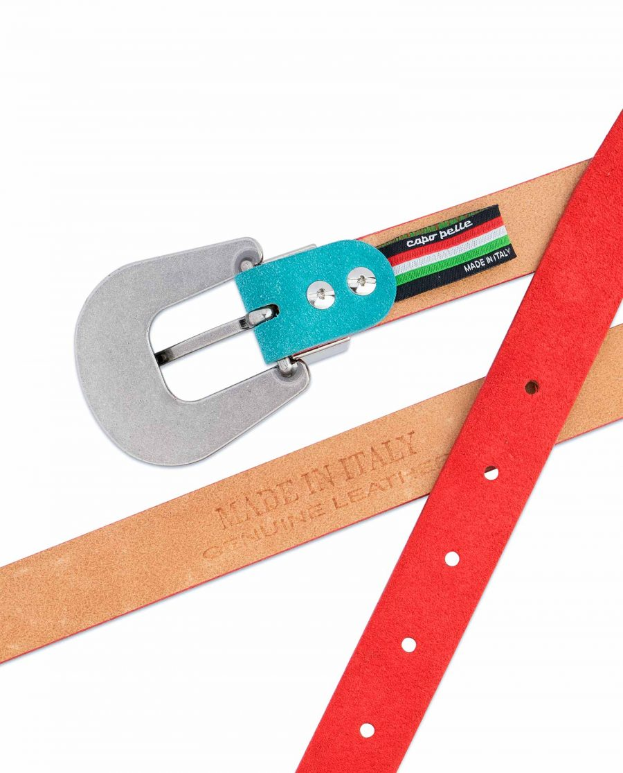 1-inch-Western-Belt-Womens-Red-Suede-Leather-Heat-stamp
