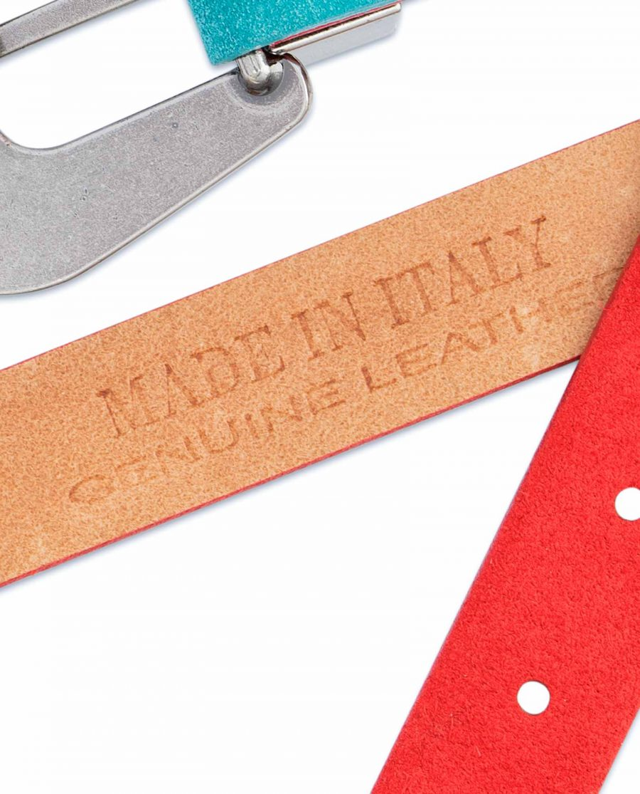 1-inch-Western-Belt-Womens-Red-Suede-Leather-Made-in-Italy-stamp