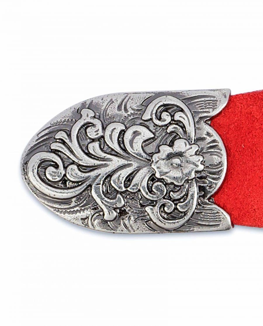 1-inch-Western-Belt-Womens-Red-Suede-Leather-Metal