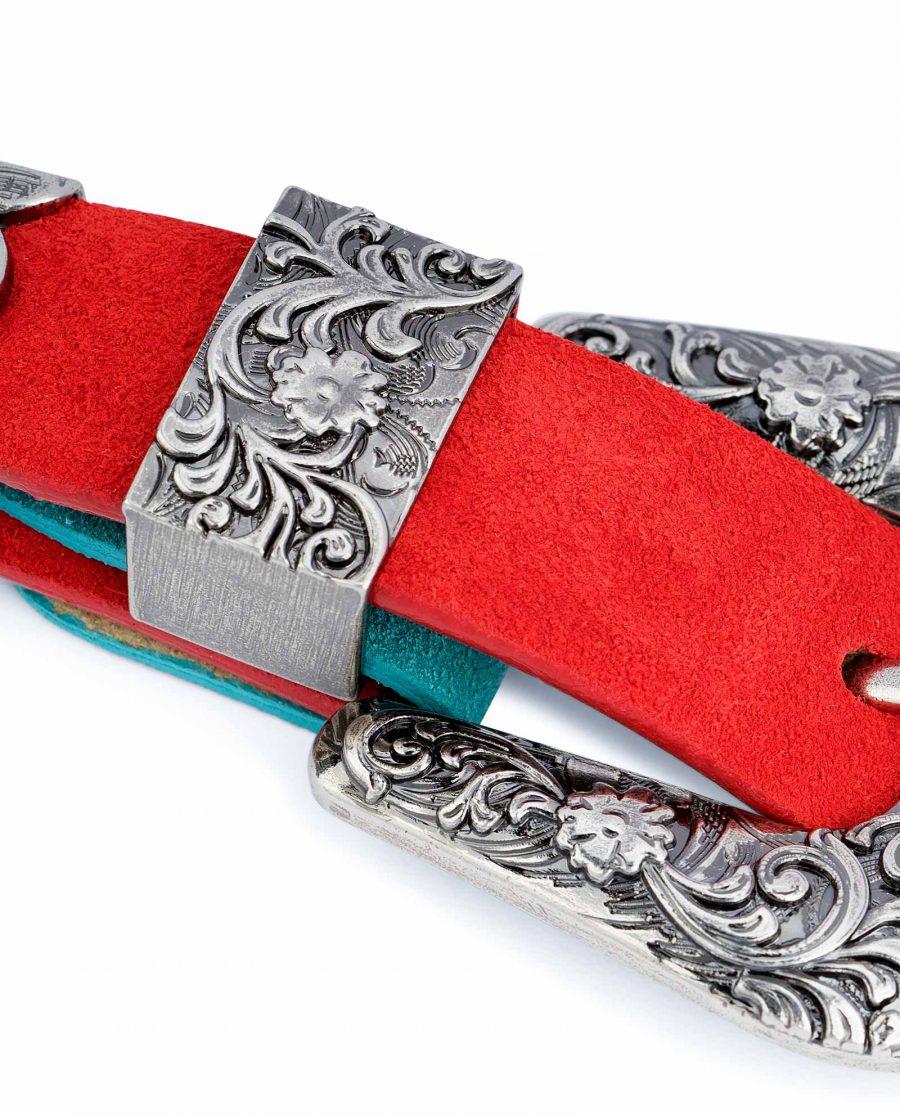 1-inch-Western-Belt-Womens-Red-Suede-Leather-Metal-belt-loop