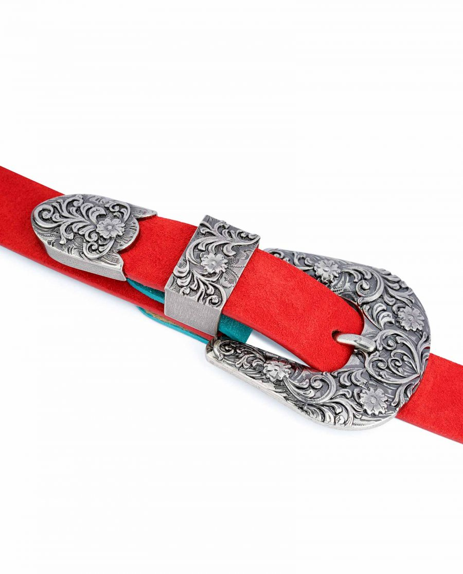 1-inch-Western-Belt-Womens-Red-Suede-Leather-On-dress