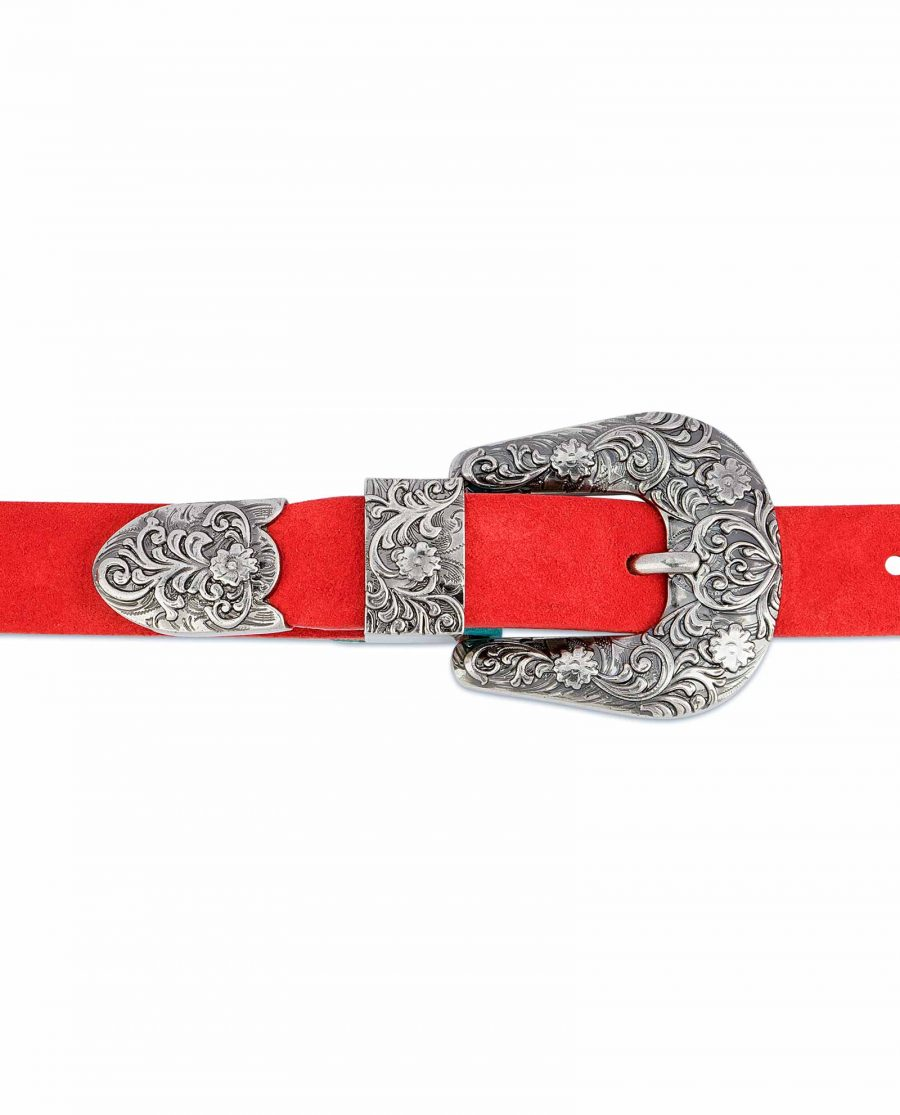 1-inch-Western-Belt-Womens-Red-Suede-Leather-On-jeans