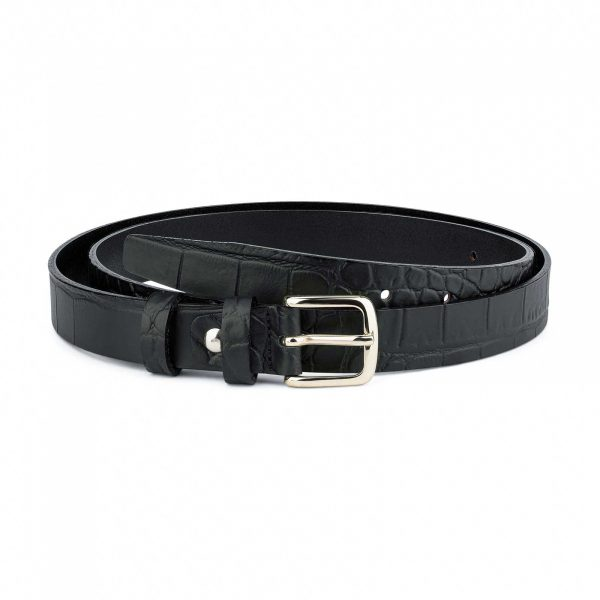 1-inch-Womens-Black-Crocodile-Skinny-Belt-25-mm-Capo-Pelle-Main-picture