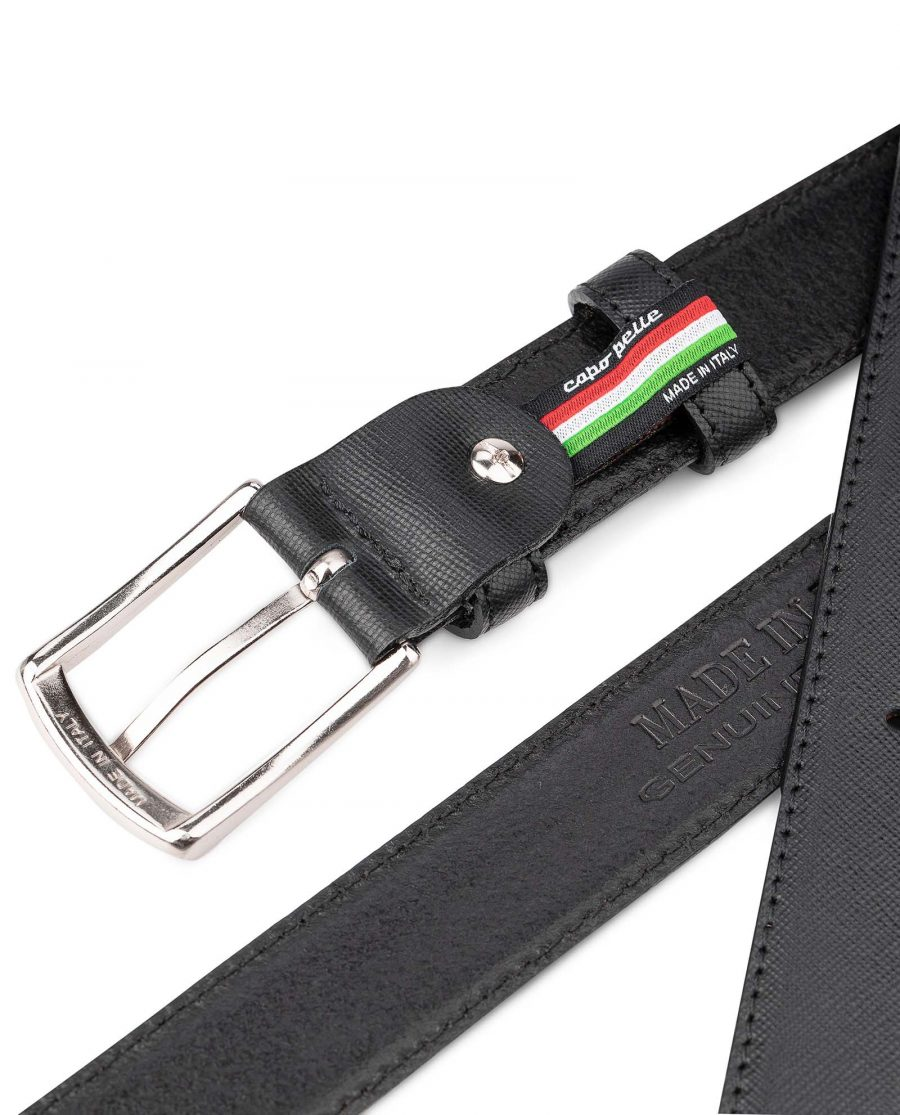 3-cm-Saffiano-Leather-Belt-in-Black-by-Capo-Pelle-Heat-Stamp