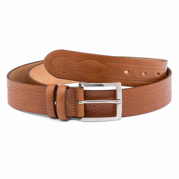 Beige-Embossed-Leather-Belt-Main-picture