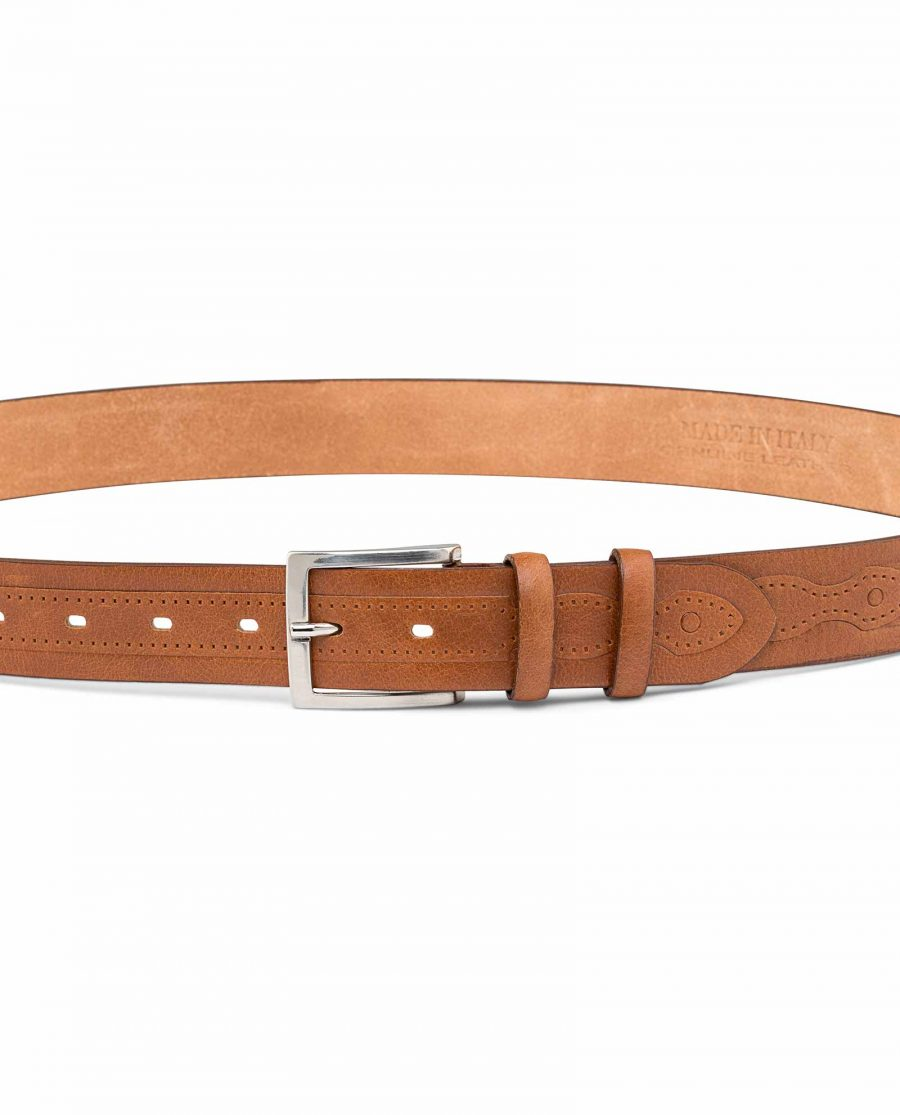 Beige-Embossed-Leather-Belt-On-trousers