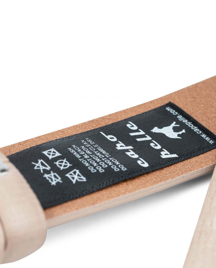 Beige-Leather-Replacement-Belt-Strap-30-mm-by-Capo-Pelle-Care-label