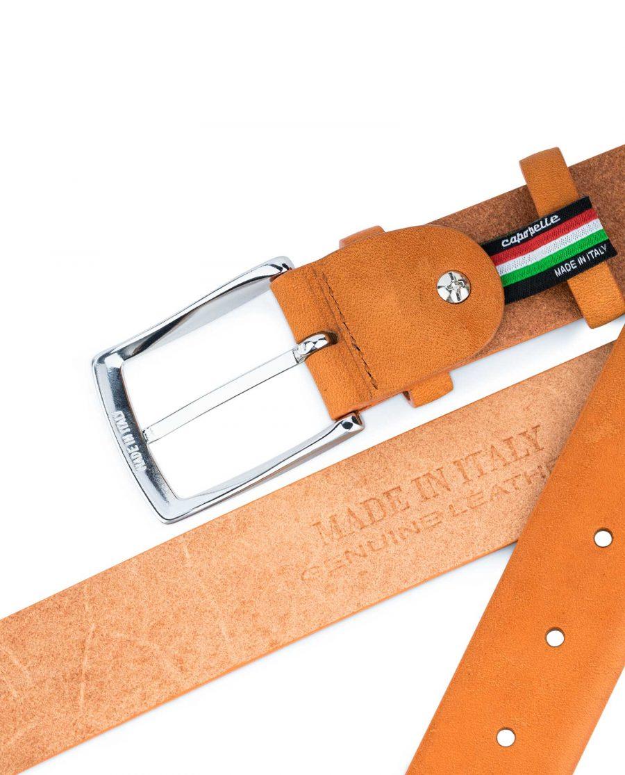 Beige-Vegetable-Tanned-Leather-Belt-Capo-Pelle-Heat-stamp