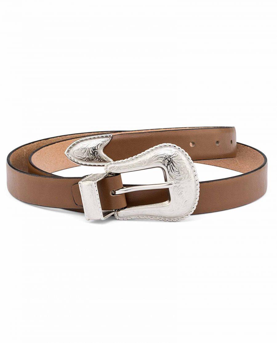 Beige-Womens-Western-Belt-25-mm-Silver-buckle-set