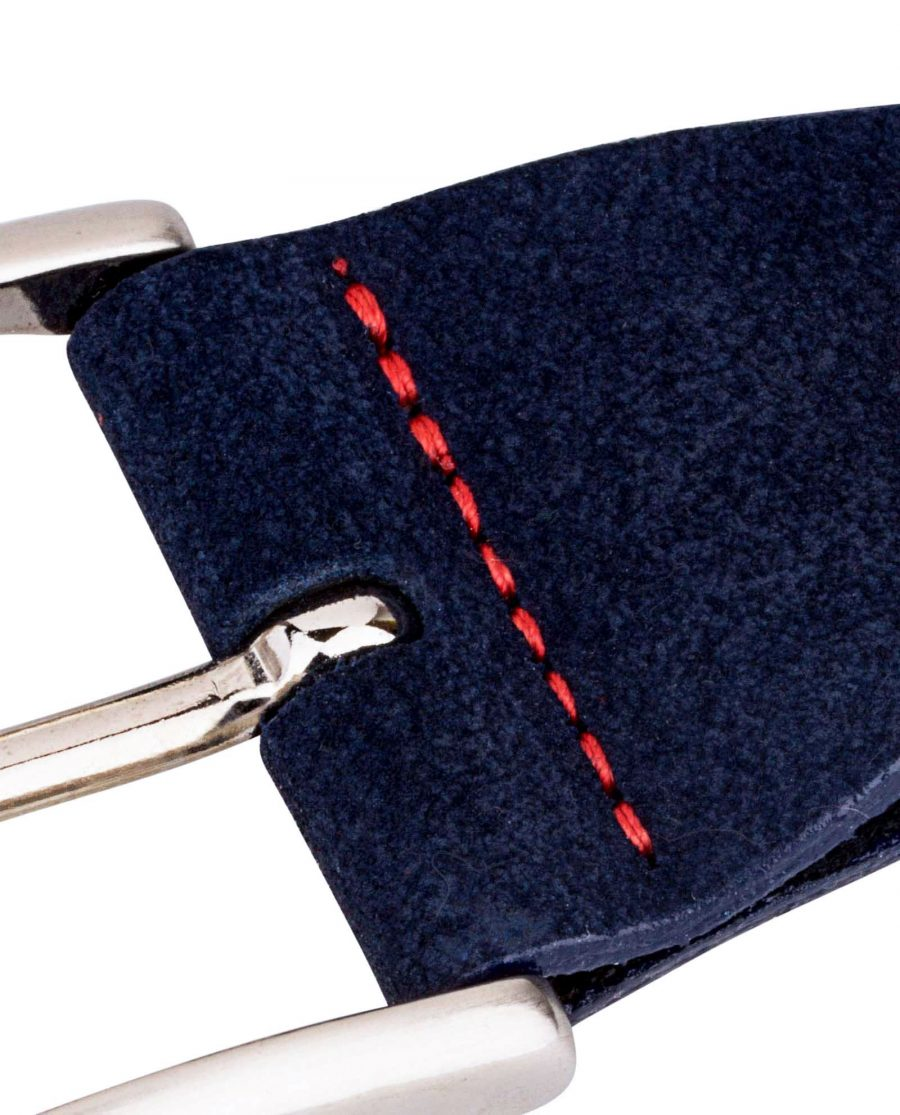 Belt-Buckle-Suede-Blue-Red-stitches