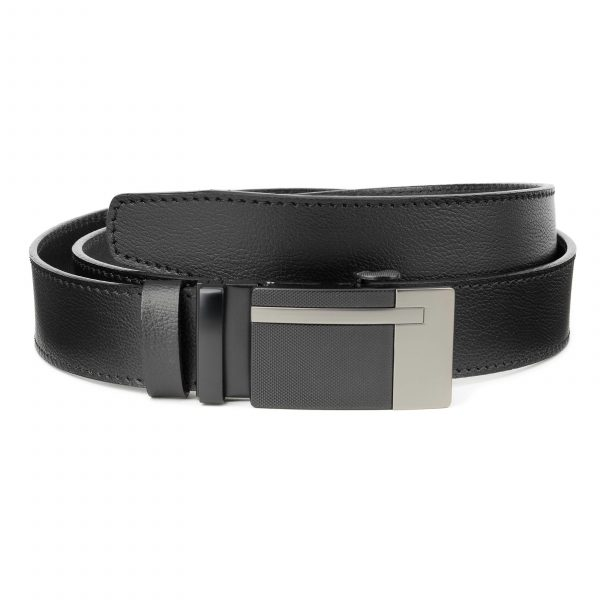 Black-Automatic-Buckle-Belt-Ratchet-Genuine-Leather-Capo-Pelle-Main-picture