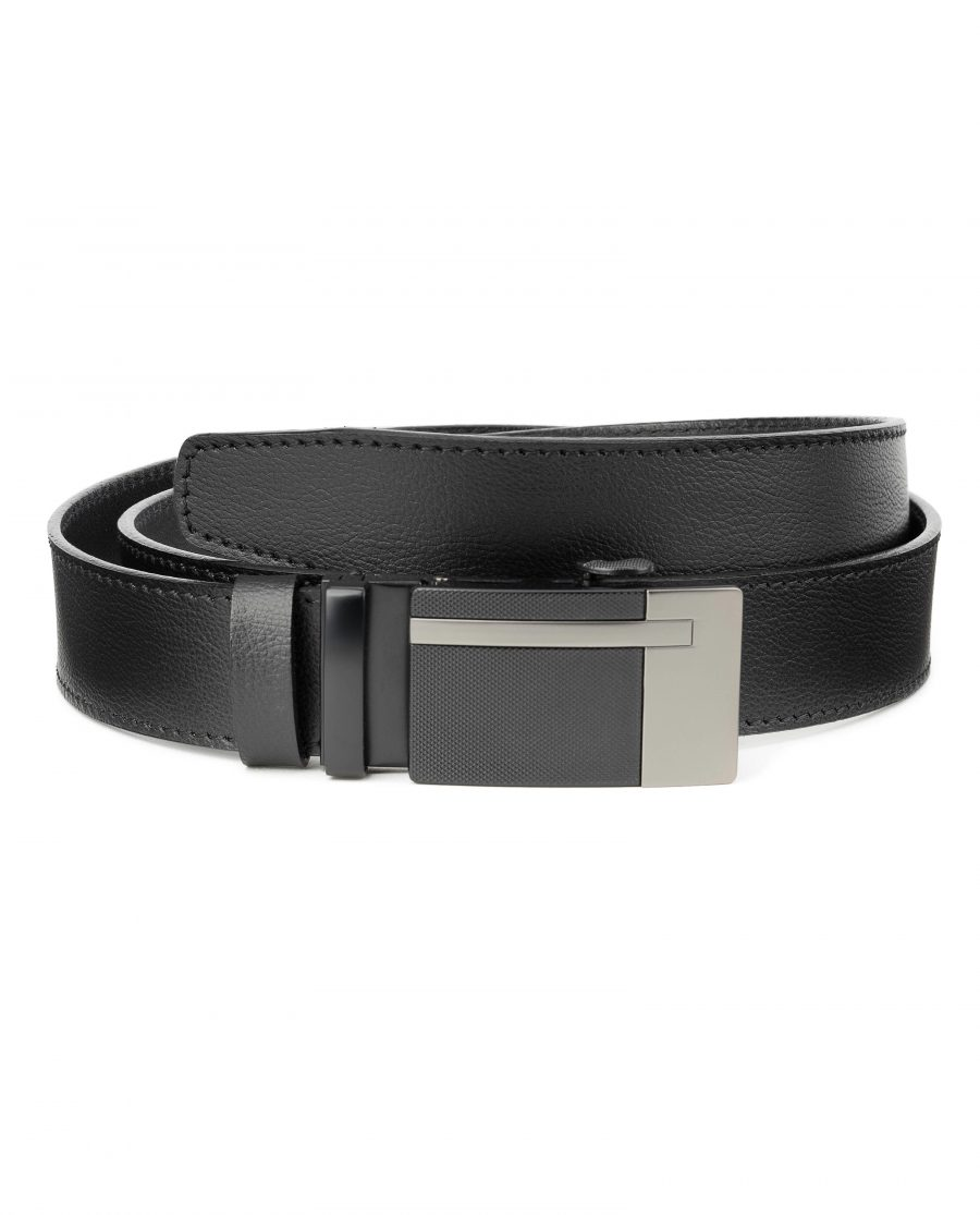 Black-Automatic-Buckle-Belt-Ratchet-Genuine-Leather-Capo-Pelle-Main-picture