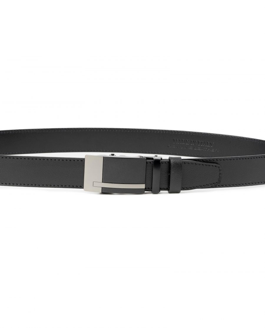 Black-Automatic-Buckle-Belt-Ratchet-Genuine-Leather-Capo-Pelle-On-trousers