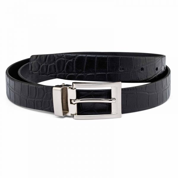 Black-Croc-Effect-Thin-Belt-Silver-buckle-First-picture