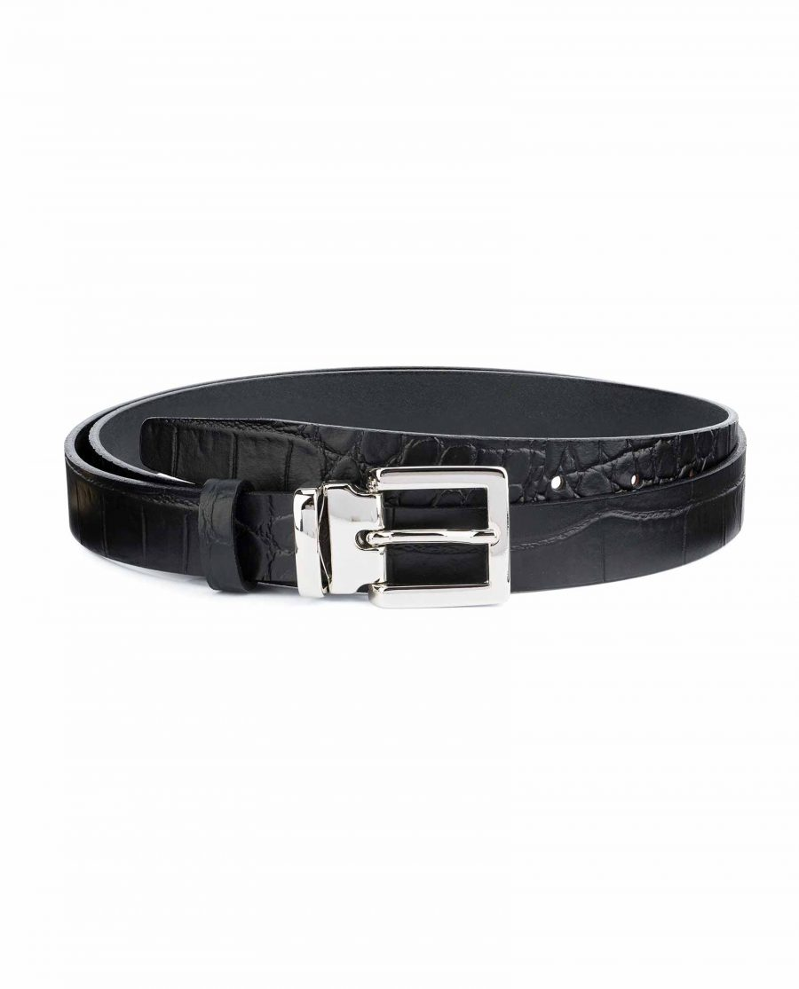 Black-Croco-Belt-1-inch-Embossed-Leather-Capo-Pelle