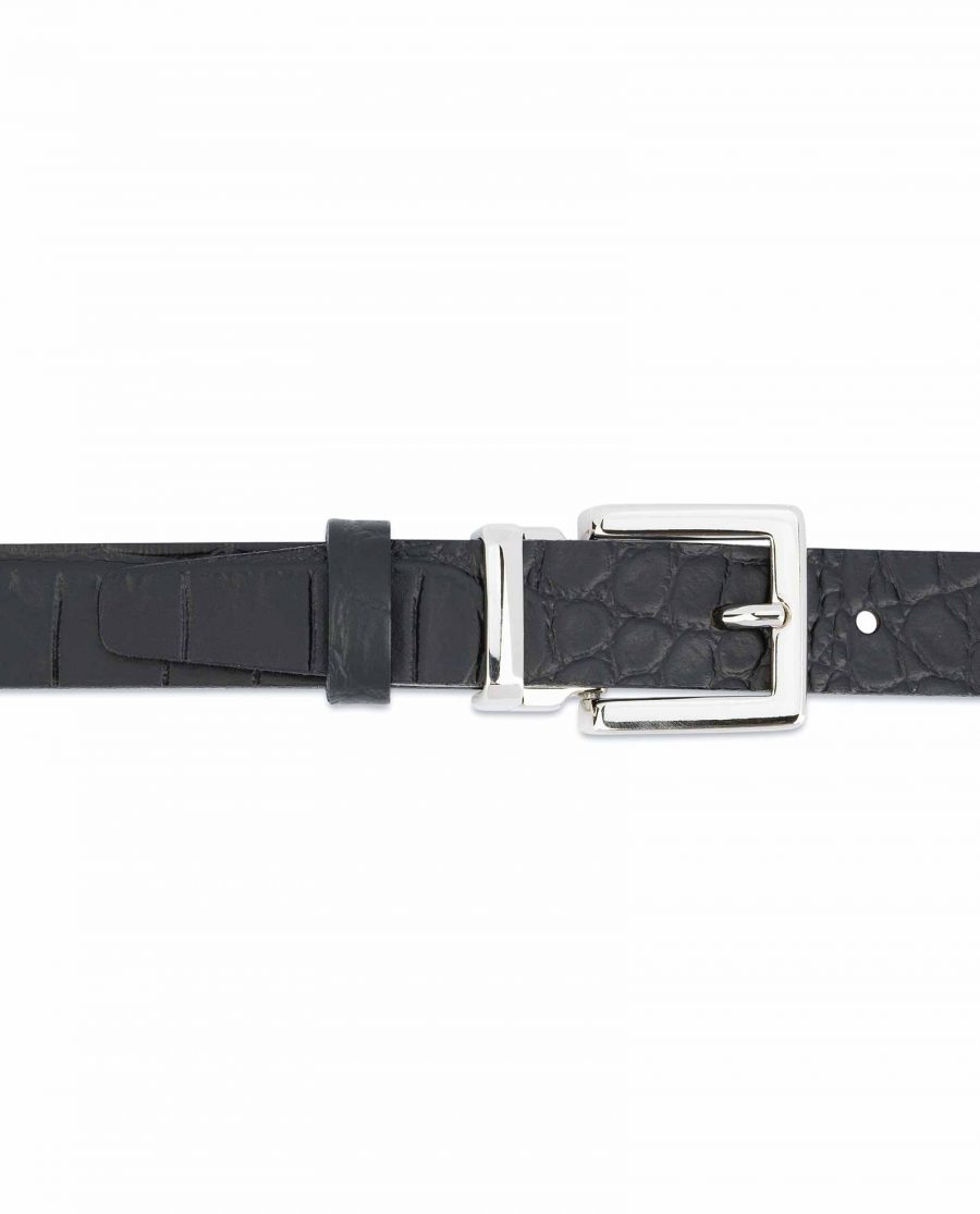 Black-Croco-Belt-1-inch-Embossed-Leather-On-trousers