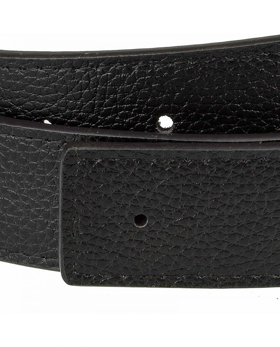 Black-H-belt-strap-narrow-buckle-hole