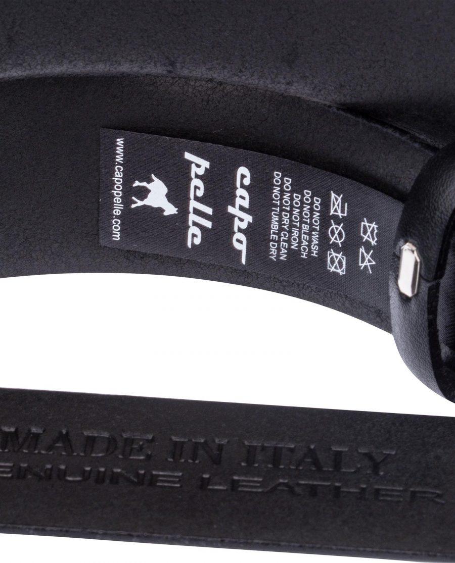 Black-Leather-Belt-Cross-buckle-Care-label