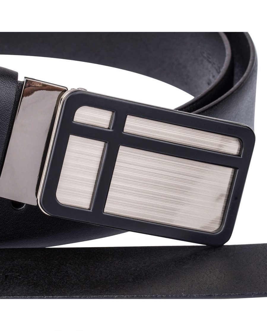 Black-Leather-Belt-Cross-buckle-Close-image