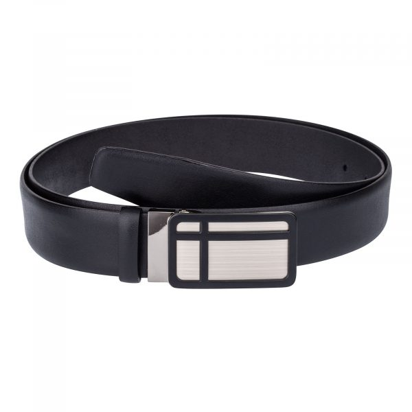 Black-Leather-Belt-Cross-buckle-Front-image