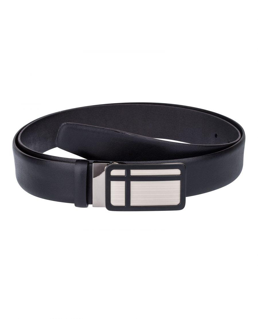 Black-Leather-Belt-Cross-buckle-Front-image