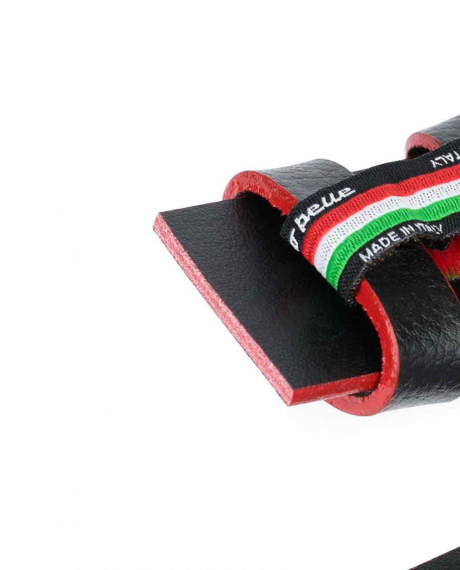 Black-Leather-Belt-No-Buckle-Red-Edges-1-3-8-inch-Genuine-calskin