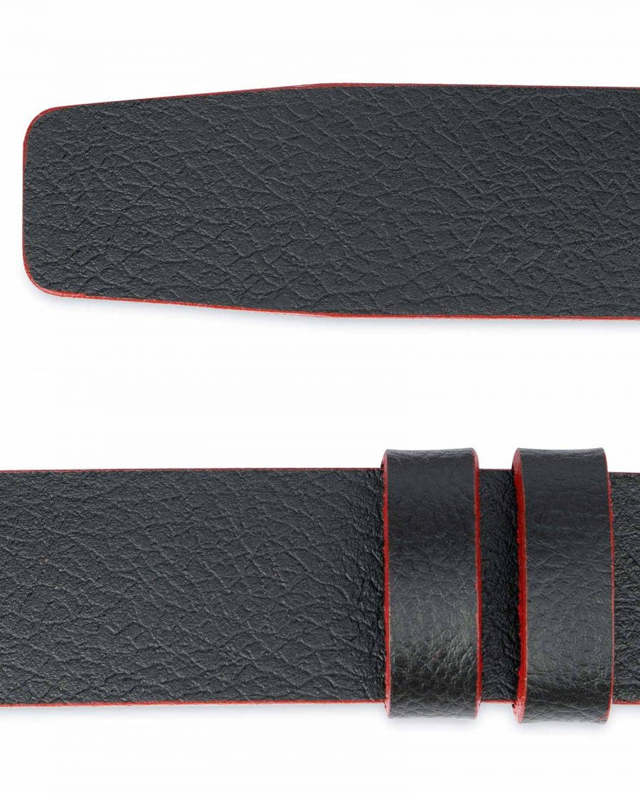 Black-Leather-Belt-No-Buckle-Red-Edges-1-3-8-inch-Real