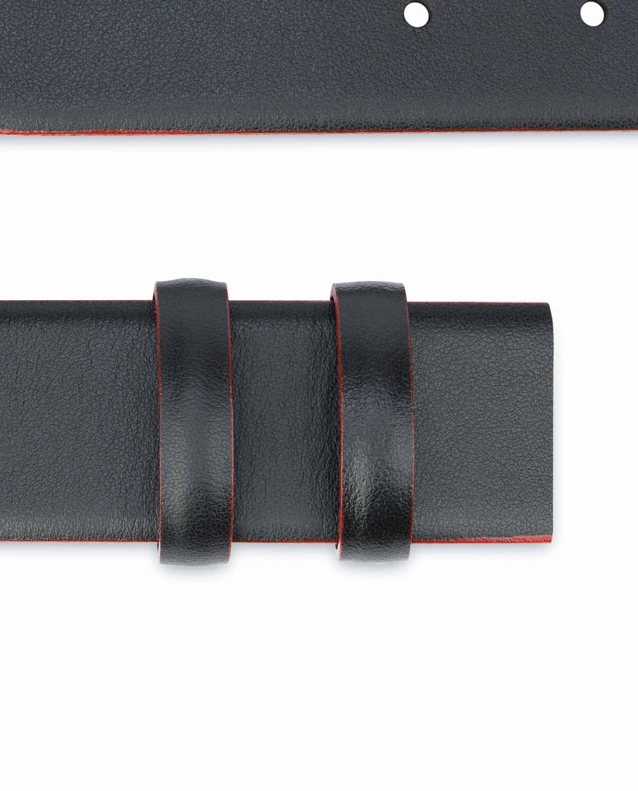 Black-Leather-Belt-Strap-Red-Feather-Edges-Loops