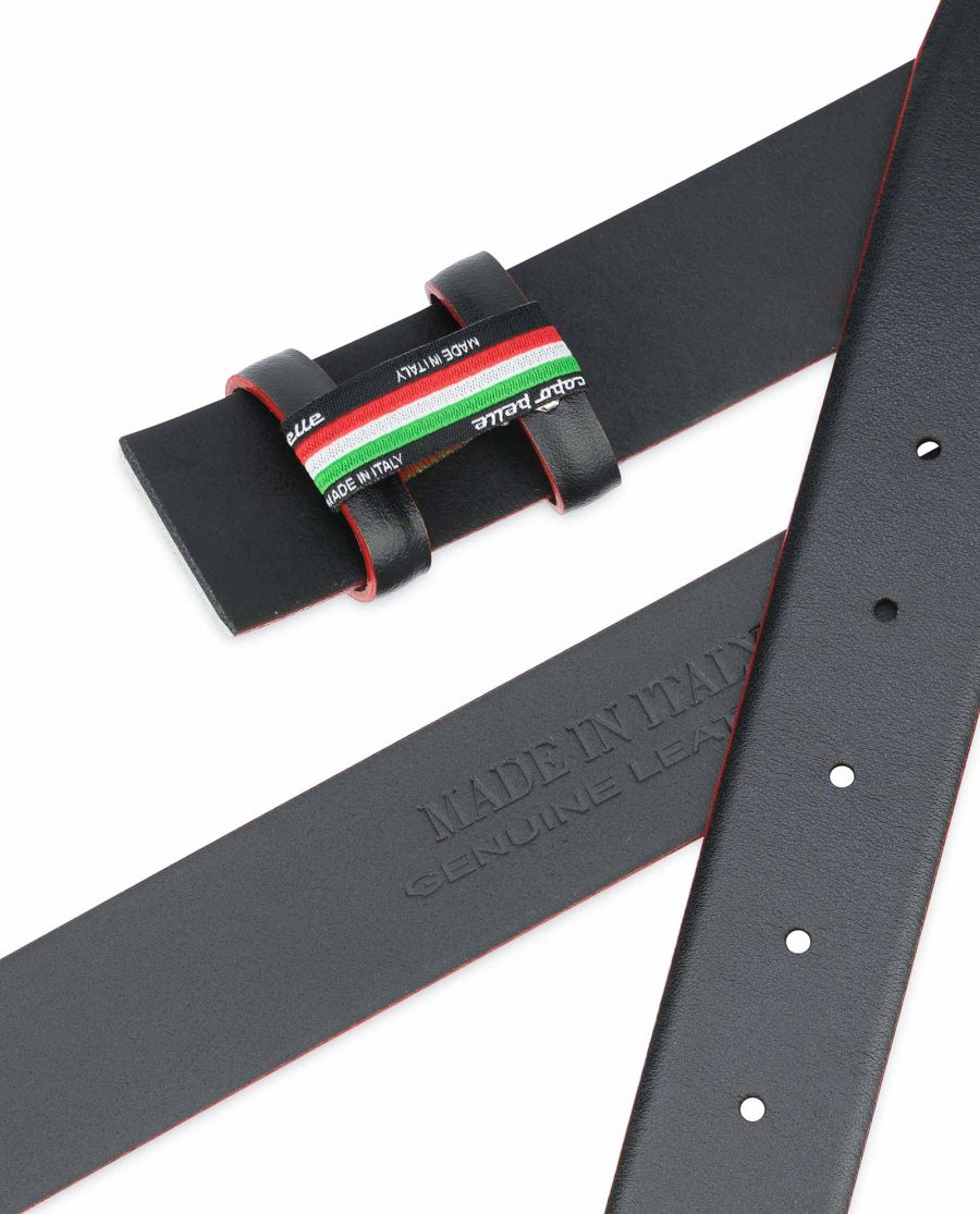 Black-Leather-Belt-Strap-Red-Feather-Edges-Made-in-Italy