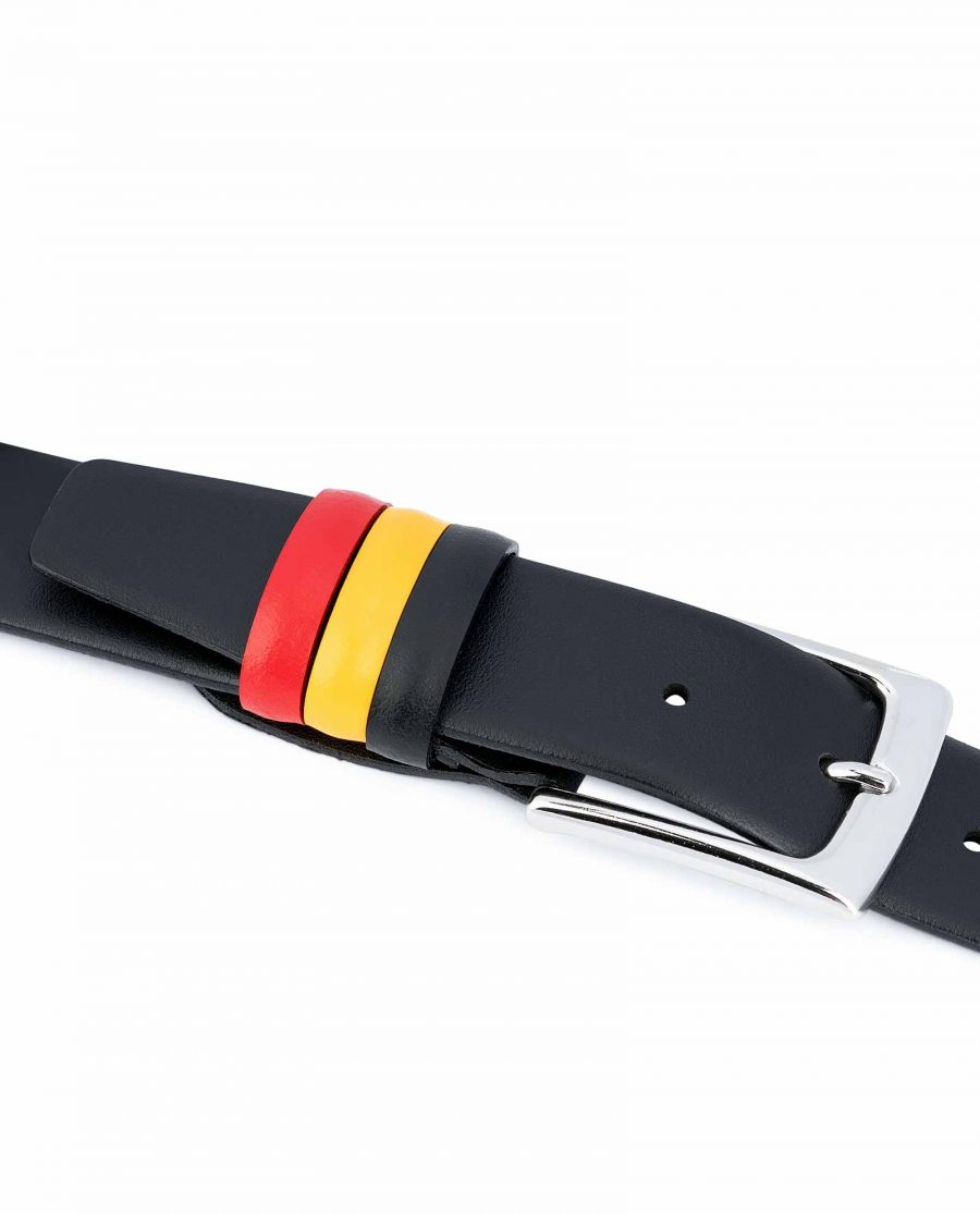 Black-Leather-Belt-with-Belgium-Flag-Colors-Calfskin