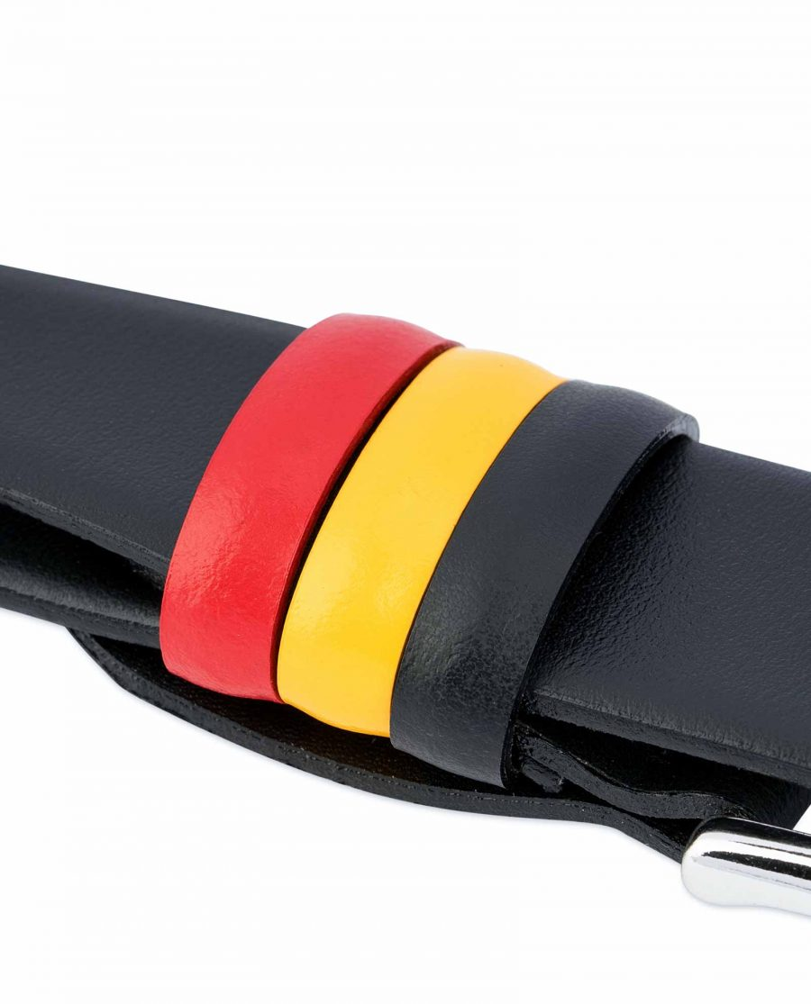 Black-Leather-Belt-with-Belgium-Flag-Colors-Loops