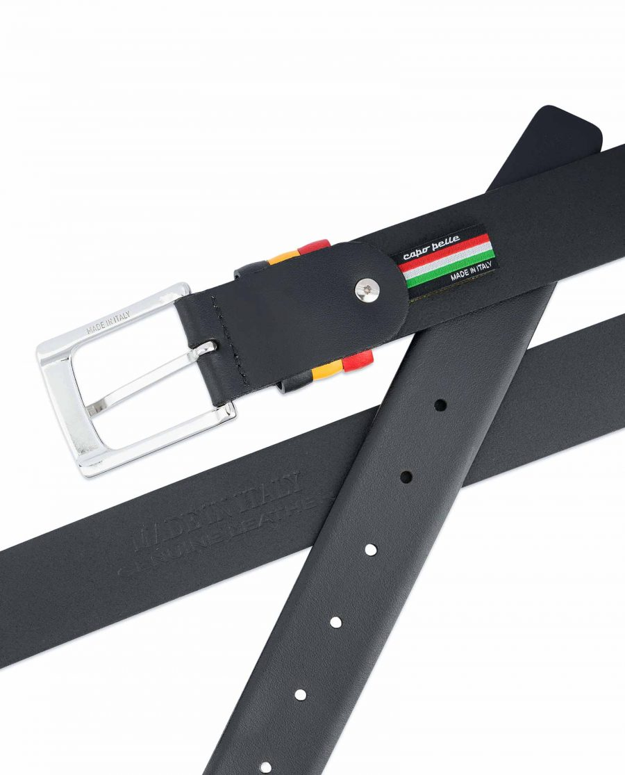 Black-Leather-Belt-with-Belgium-Flag-Colors-Mens