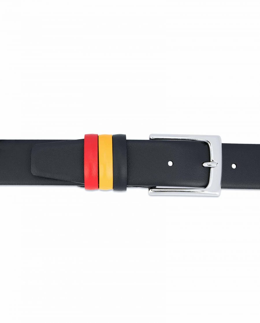 Black-Leather-Belt-with-Belgium-Flag-Colors-On-trousers